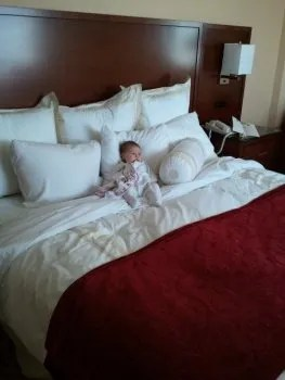 baby in the hotel room