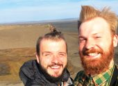 Icelandic storm and our faces   Gay Couple Road Trip East Iceland © Coupleofmen.com