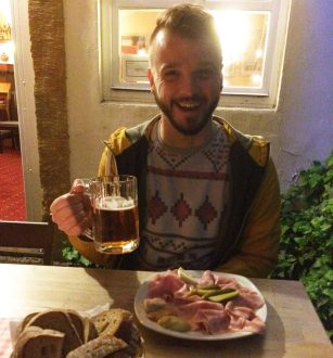 Karl loves his meat plate & Czech Beer Café Domeček | Gay Couple City Weekend Prague © CoupleofMen.com