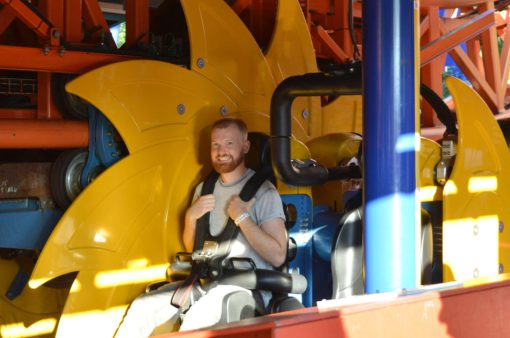 Daan in one of the 7 Roller Coaster | Our Gay Couple Review Theme Park Linnanmäki Helsinki Finland © Coupleofmen.com