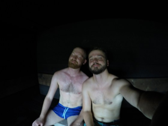 Gay Selfie in the Finnish Sauna Löyly | Gay Couple Finnish Design Sauna LÖYLY Helsinki © CoupleofMen.com