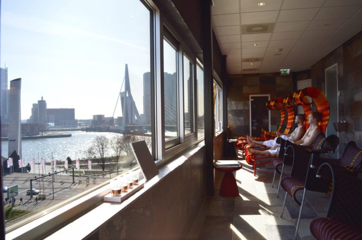 Rooftop Sauna with a view over harbor area   Mainport Hotel Rotterdam Gay-Friendly © CoupleofMen.com