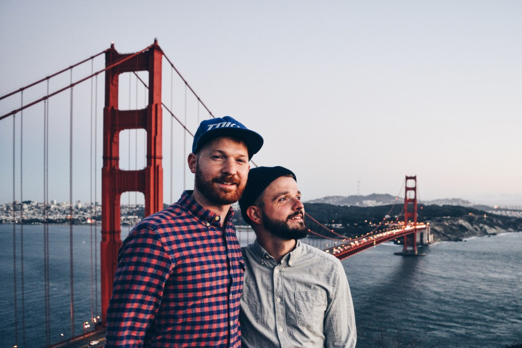 Photos Castro Street Fair Karl & Daan at Golden Gate Bridge | Top 13 Highlights Road Trip South West USA © CoupleofMen.com