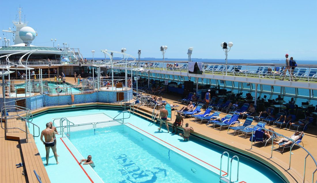 Tips European Gay Cruise The Pool deck of the cruise ship SOVEREIGN | Gay Men Tips La Demence The Cruise © CoupleofMen.com