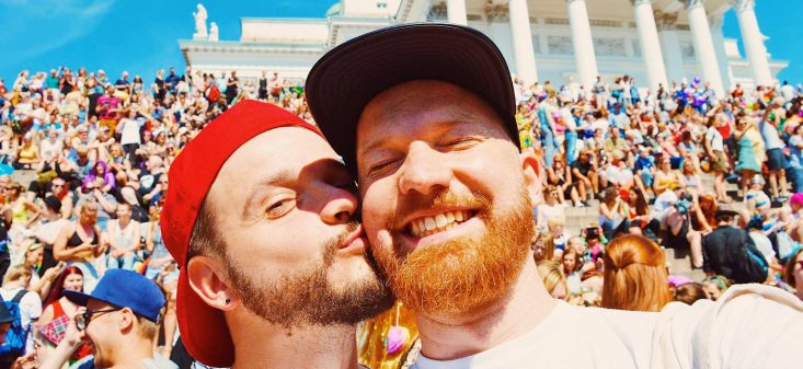 Couple of Men Gay Pride Trips - Love Kiss | Gay Pride Helsinki LGBTQ Festival Parade 2016 © CoupleofMen.com
