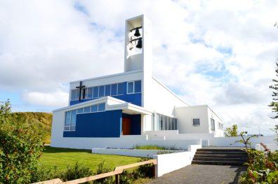 White modern Church | Gay Couple Travel City Weekend Reykjavik Iceland © Coupleofmen.com