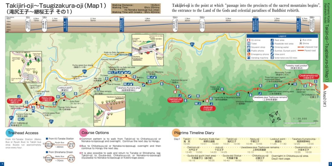 Map for pilgrims and hikers of the Kumano Kodo