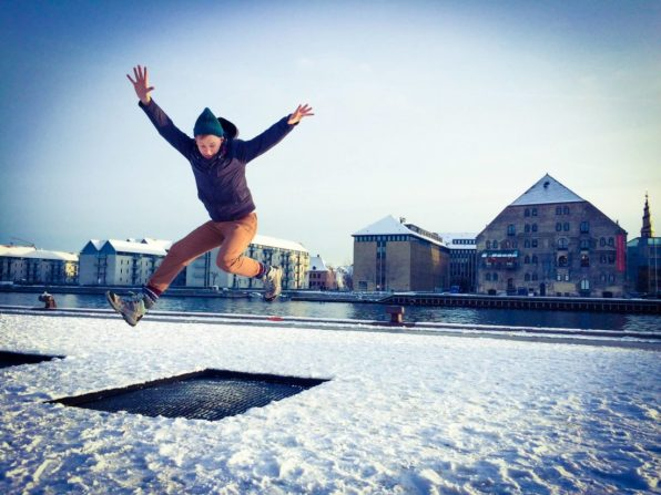 Daan Trampolin Jumping in Winter   Gay Travel Guide Tivoli Gardens Copenhagen Winter © CoupleofMen.com