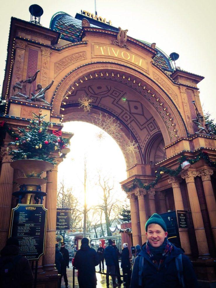 Daan excited in front of the Park   Gay Travel Guide Tivoli Gardens Copenhagen Winter © Coupleofmen.com