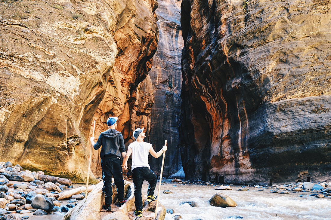 Gay Couple Travel Bloggers hiking Zion National Park Narrows | Road Trip USA Highlights American South West © CoupleofMen.com