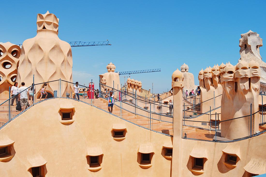 On the roof of the building   Gay Travel Guide Gaudi Architecture Casa Mila La Pedrera © Coupleofmen.com
