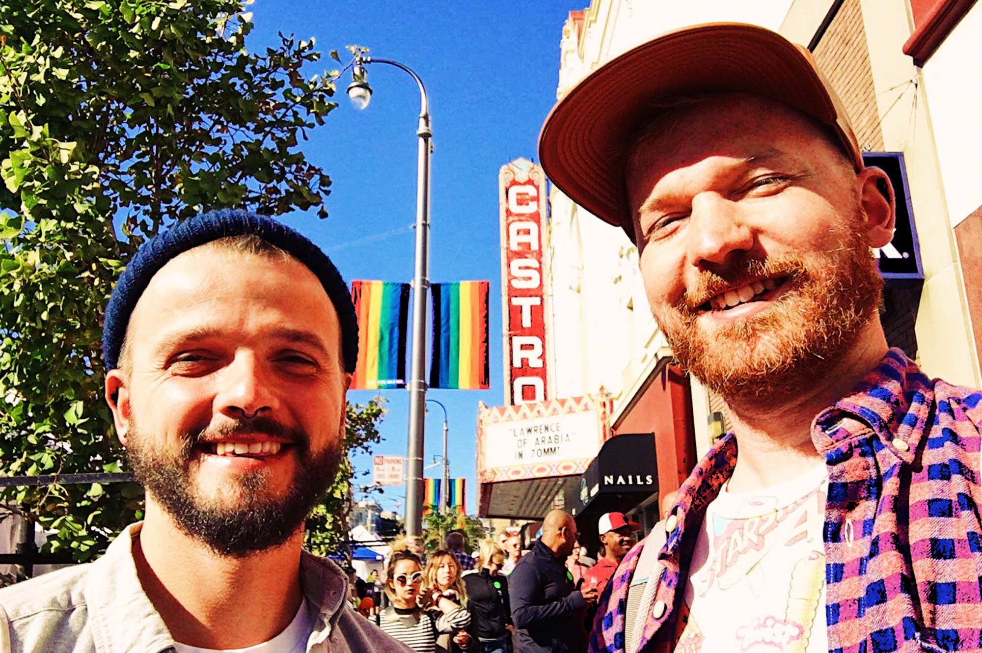 Karl & Daan in front Castro Theater | Our Photo Story Castro Street Fair San Francisco © CoupleofMen.com