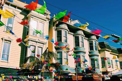 Rainbow flags all over Castro district | Our Photo Story Castro Street Fair San Francisco © CoupleofMen.com