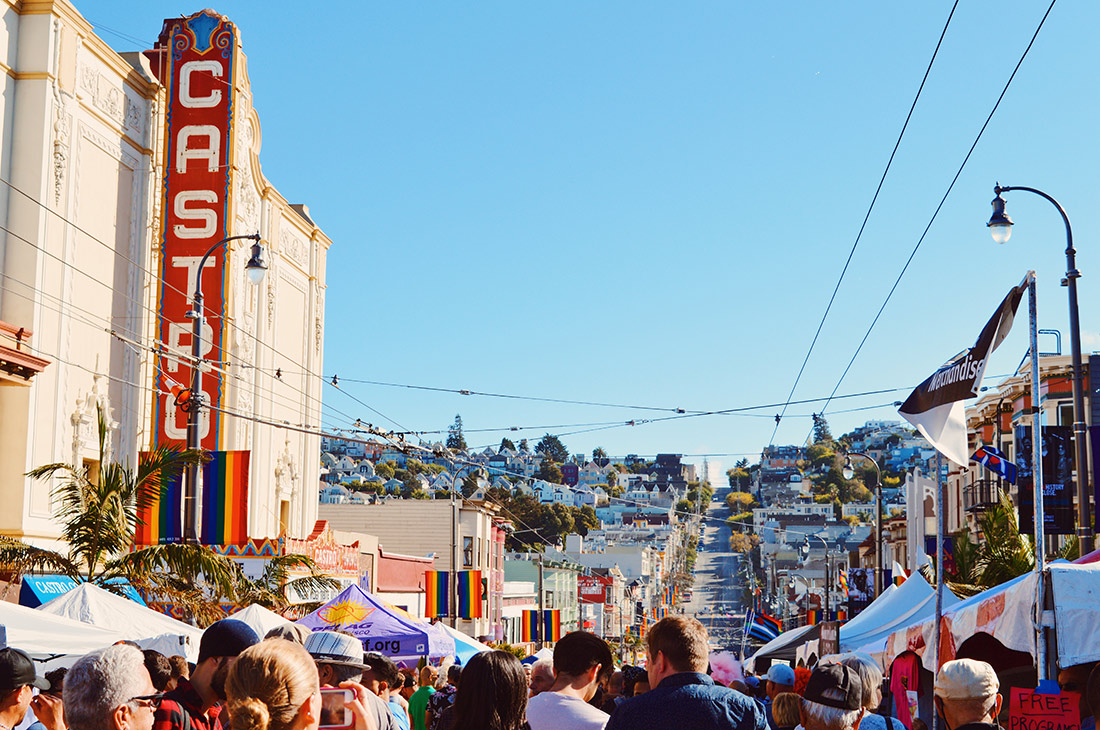 View over Castro Street Fair with Castro Theater | Our Photo Story Castro Street Fair San Francisco © CoupleofMen.com