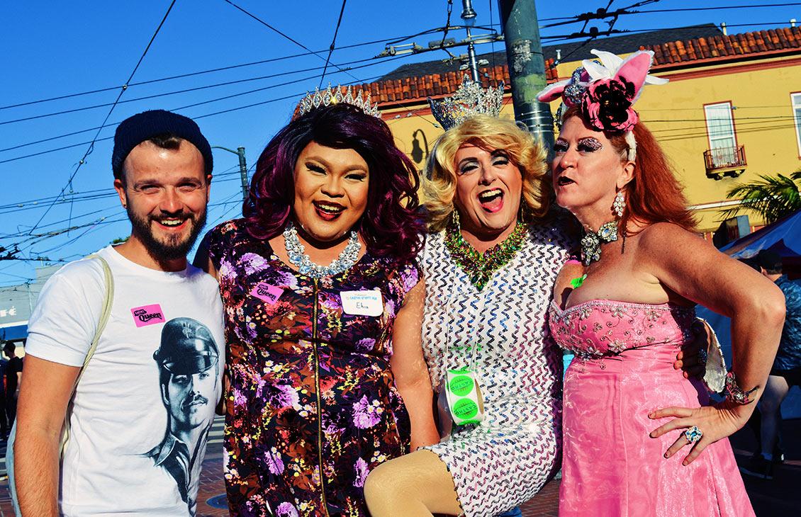 Drag Queens, Moms & LGBT allies posing with Karl © CoupleofMen.com