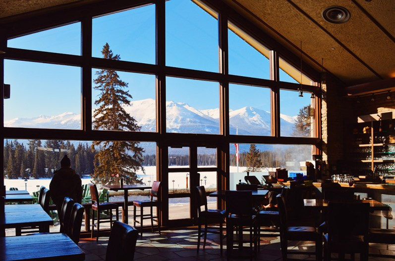 Staying with a view over the Canadian Rockies from the Lobby © CoupleofMen.com