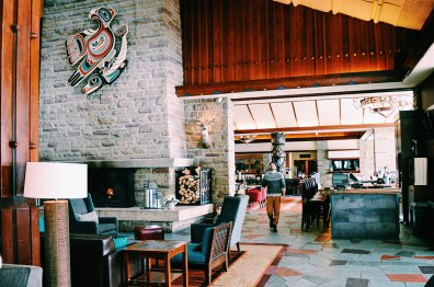Impressive Lobby with first Nation Art in Alberta Canada Gay-friendly Hotel © CoupleofMen.com