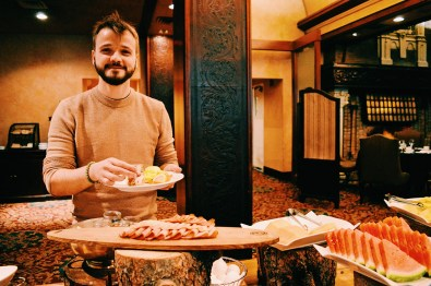 Karl loves Eggs Benedict for breakfast | Gay-friendly Fairmont Palliser Hotel Downtown Calgary © CoupleofMen.com