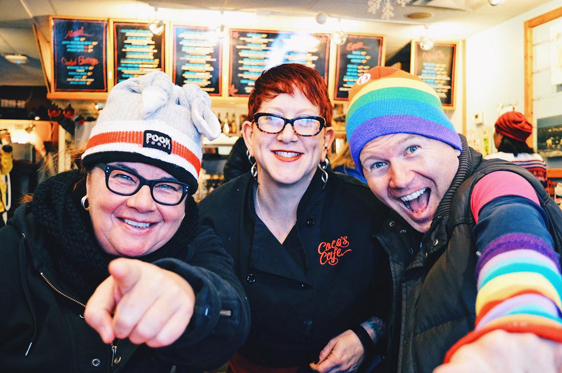 Gay Ski Week Canada Whistler Pride Travel 2018 Coco's Café Jasper Best gay-friendly Food Place © CoupleofMen.com