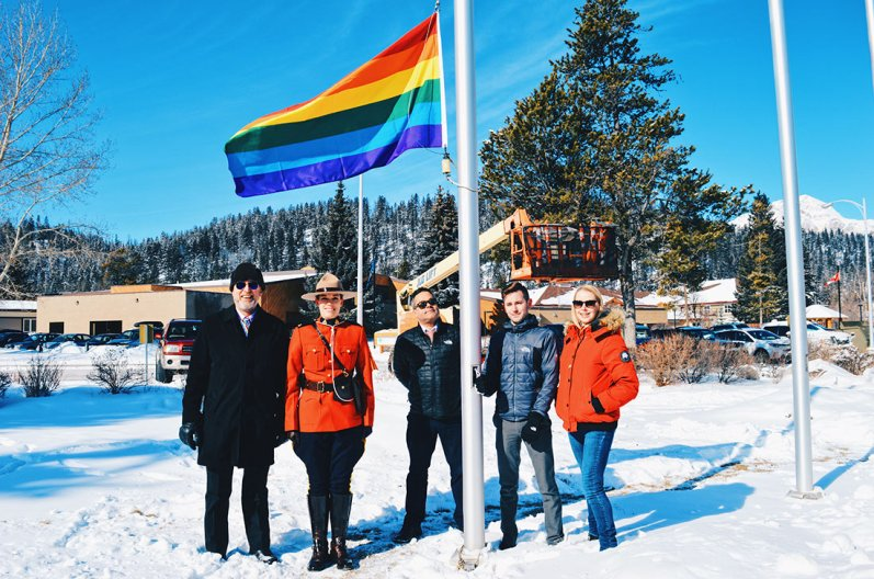 Raising the Rainbow Flag 2017 | Highlights Jasper Pride Festival Rainbow Parade Marmot Basin © CoupleofMen.com