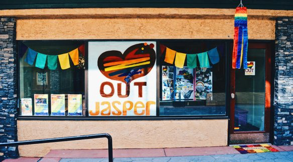 Window Rainbow Decoration Challenge | Highlights Jasper Pride Festival Rainbow Parade Marmot Basin © CoupleofMen.com