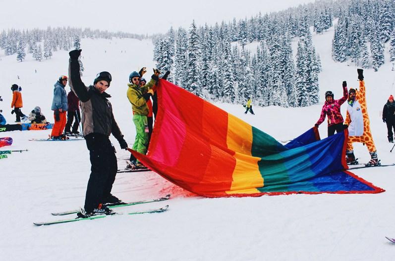 Gay Pride Rainbow Parade on the Ski Hills of Marmot Basin | Highlights Jasper Pride Festival Rainbow Parade Marmot Basin © Steven Bereznai