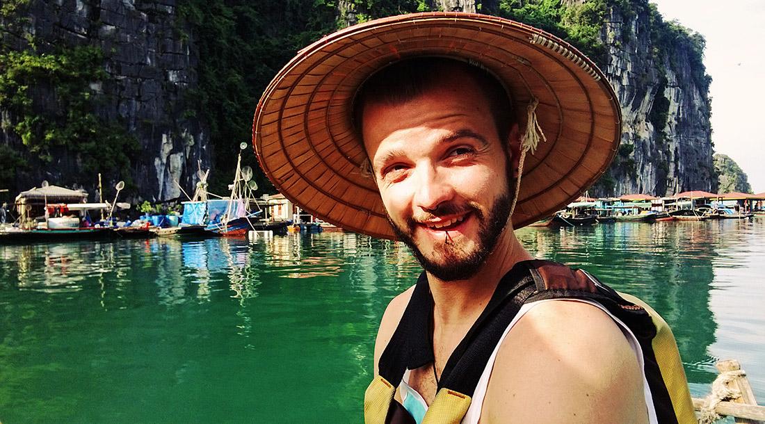 Gay Travel Adventure Vietnam Explorer Karl on our Halong Bay Adventure | Top Highlights Best Photos Gay Couple Travel Vietnam © CoupleofMen.com