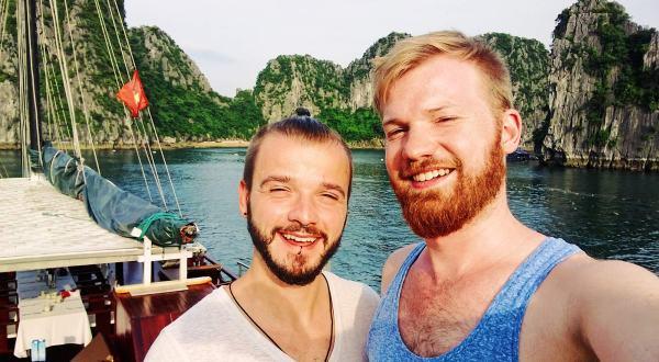 Gay Travel Adventure Vietnam Gay Travel Blogger Karl & Daan on a Halong Bay Cruise   Top Highlights Best Photos Gay Couple Travel Vietnam © CoupleofMen.com