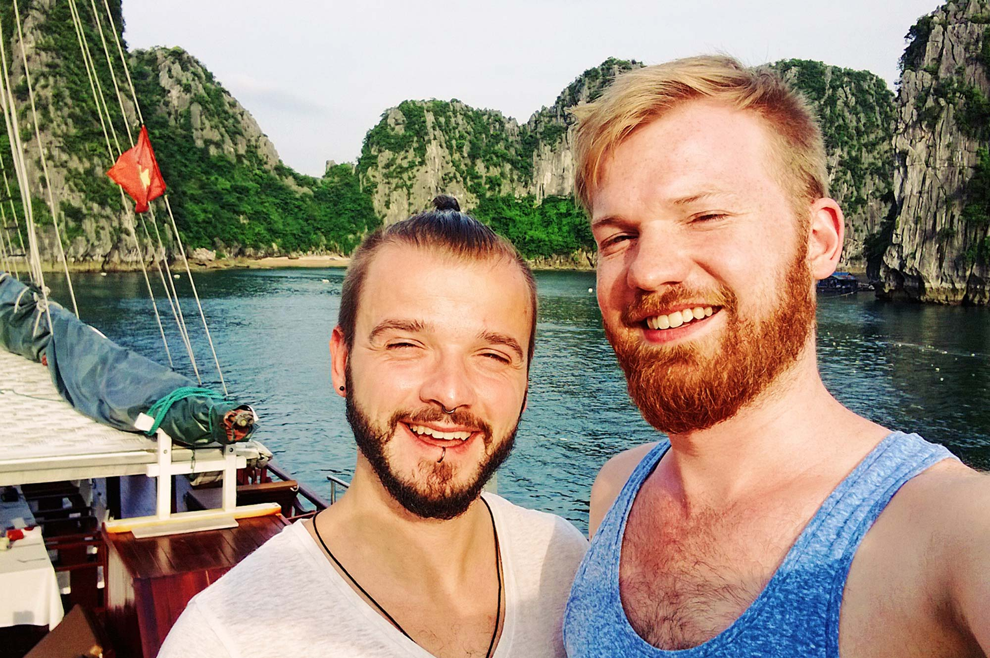 Gay Travel Adventure Vietnam Gay Travel Blogger Karl & Daan on a Halong Bay Cruise | Top Highlights Best Photos Gay Couple Travel Vietnam © CoupleofMen.com