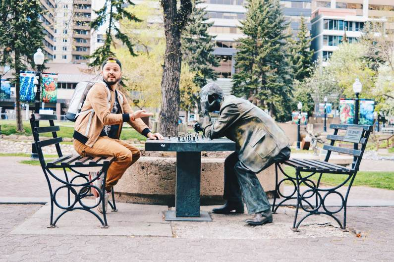 Chass mate at Century Gardens | Photo Tour Parks Public Art Downtown Calgary Alberta © CoupleofMen.com