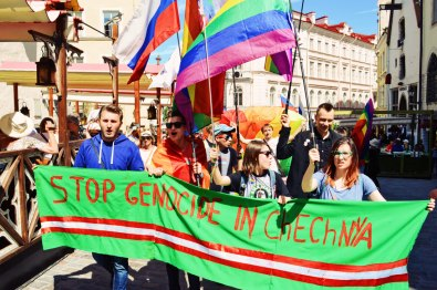 "Self-made banner ""Stop Genocide in Chechnya"" 