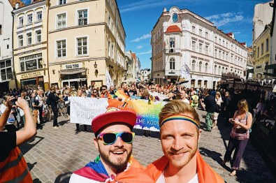 Karl & Sven on front of the Gay Pride Parade in Tallinn© CoupleofMen.com