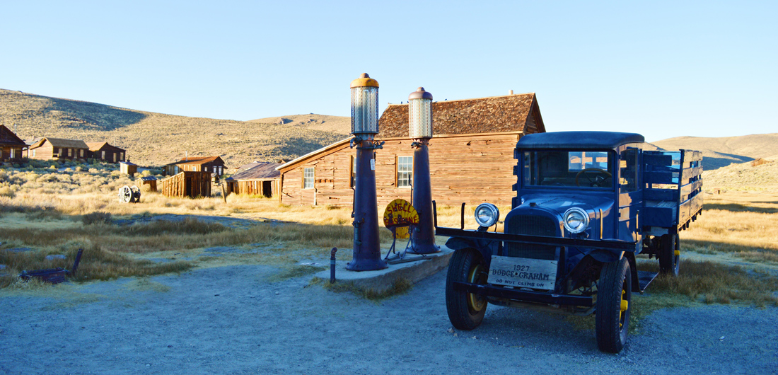 Gasoline stop in Bodie with an original Dodge Graham | Ghost Town Bodie State Historic Park California © CoupleofMen.com