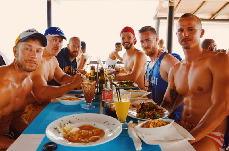 Sexy Musceld Gay Men at Ibiza Gay Beach | Gay Couple Travel Gay Beach Ibiza Town Spain © CoupleofMen.com