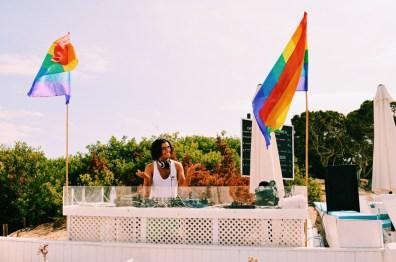 Gay Travel Ibiza Live DJ Music at the Gay Beach | Gay Couple Travel Gay Beach Ibiza Town Spain © CoupleofMen.com