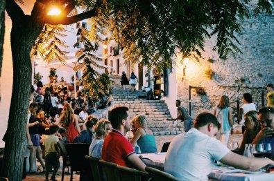 Gay Travel Ibiza Dinner at Plaça del Sol Restaurant | Gay Couple Travel Gay Beach Ibiza Town Spain © CoupleofMen.com