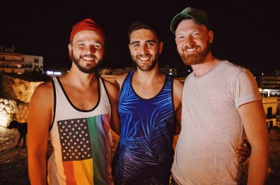 Meeting handsome Instagram guy @ansaro during dinner | Gay Couple Travel Gay Beach Ibiza Town Spain © CoupleofMen.com
