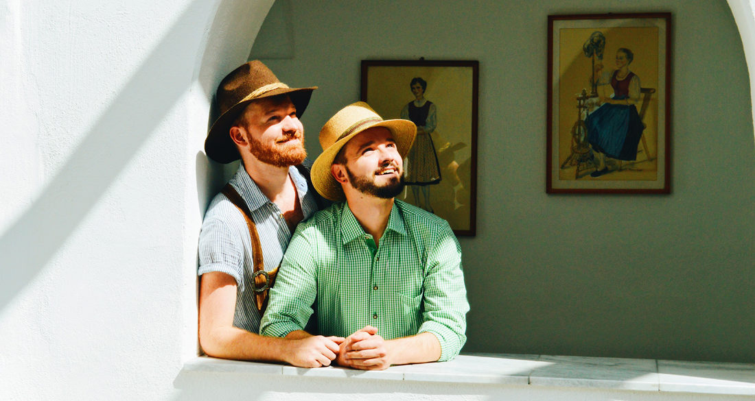 Two Gay Guys wearing brand new Lederhosen Tips Traditional Austrian Garments © CoupleofMen.com