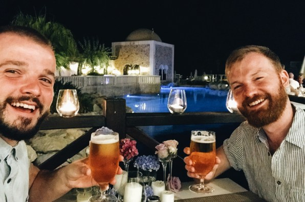 Cheers on our moonshine dinner | The Level Meliá Villaitana Benidorm gay-friendly © CoupleofMen.com