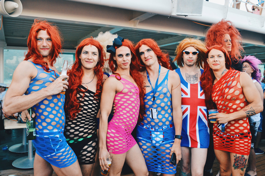 Gay Man dressed as woman, drag queens, Lady T-Dance Party The Cruise 2017 © CoupleofMen.com