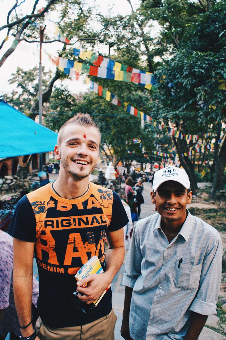 Karl arriving at Swayambhunath - Monkey Temple | Gay Travel Nepal Photo Story Himalayas © Coupleofmen.com