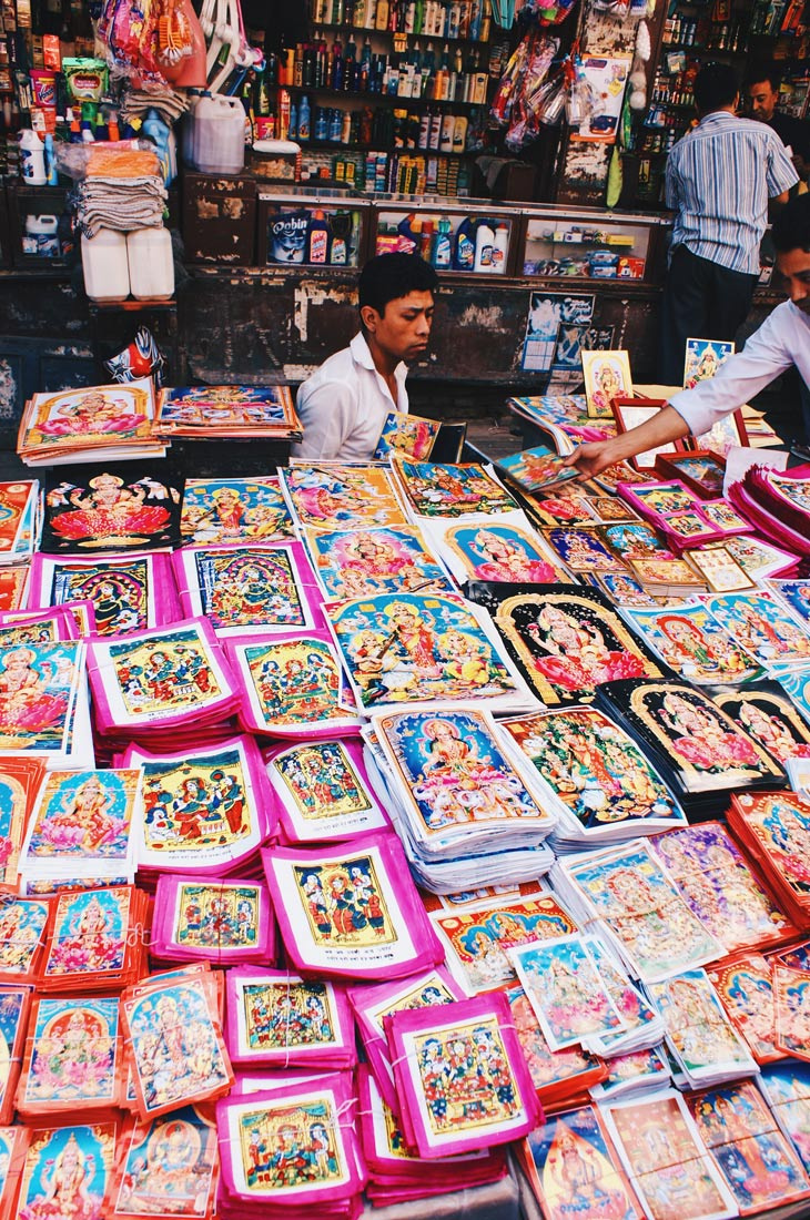 Praying papers on a market in Kathmandu | Gay Travel Nepal Photo Story Himalayas © Coupleofmen.com