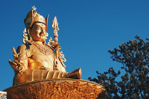 Right 19,5 meters high Golden Buddha Statue at Amideva Park | Gay Travel Nepal Photo Story Himalayas © Coupleofmen.com