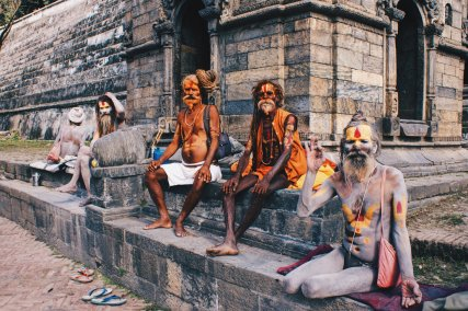 Praying Sadhus by the River Bagmati | Gay Travel Nepal Photo Story Himalayas © Coupleofmen.com