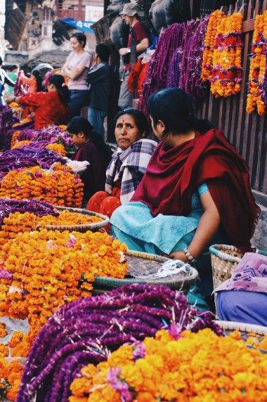 Women selling flower coronals in Kathmandu   Gay Travel Nepal Photo Story Himalayas © Coupleofmen.com
