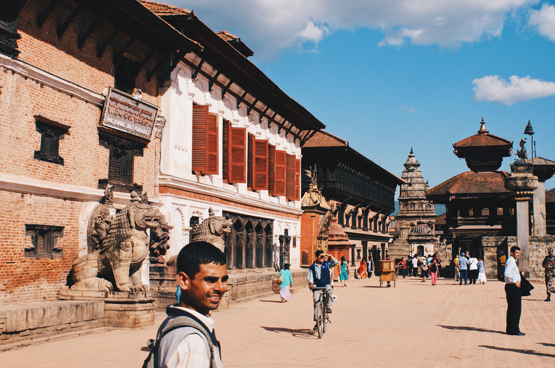 In front of the Royal Palace of Bhaktapur | Gay Travel Nepal Photo Story Himalayas © Coupleofmen.com