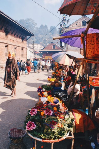 Flower arrangements and a colorful Sadhu   Gay Travel Nepal Photo Story Himalayas © Coupleofmen.com