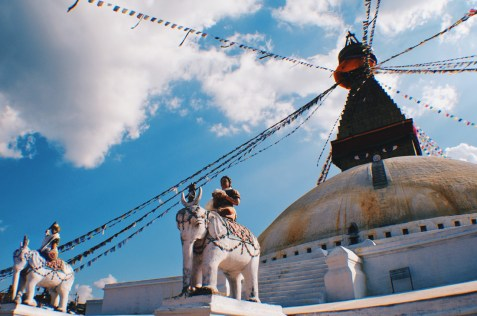 White elefants uner blue sky of the Boudhanath Stupa | Gay Travel Nepal Photo Story Himalayas © Coupleofmen.com