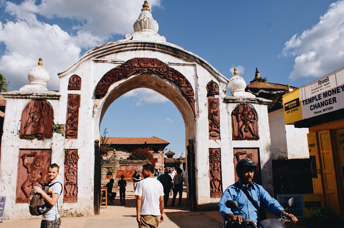 Karl in front of the entrance Gate of Bhaktapur | Gay Travel Nepal Photo Story Himalayas © Coupleofmen.com