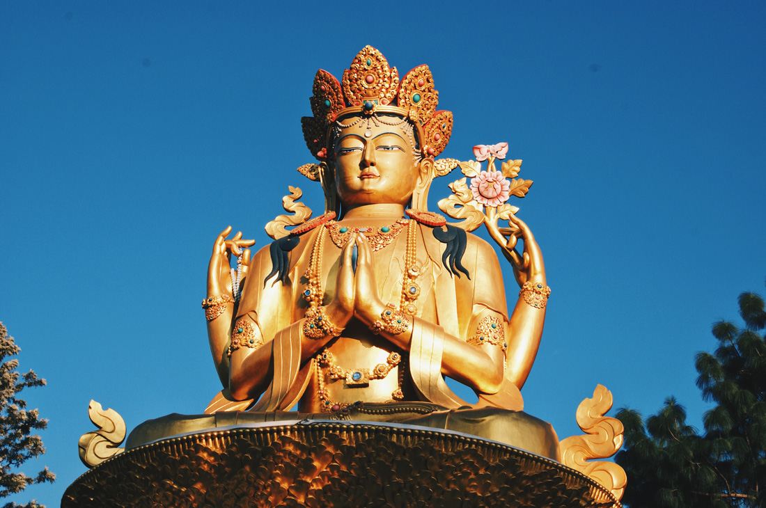 Left 19,5 meters high Golden Buddha Statue at Amideva Park | Gay Travel Nepal Photo Story Himalayas © Coupleofmen.com